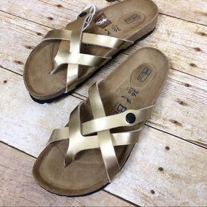 Betula by Birkenstock NEW Gold Vinja Sandals